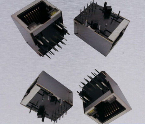 China PCB Female RJ45 Modular Jack , RJ45 Single Port PoE Tab Down Transformer supplier