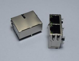 China Male to FemaleTab Down 2 Port RJ45 Connector with Integrated Magnetics for Telecom Connection supplier