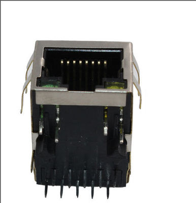 China Right Angle RJ45 Lan Jack / Gigabit RJ45 Network Connector Integrated Filter supplier
