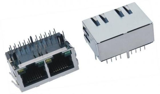 China Ethernet Network RJ45 Female Jack , 1x2 Port RJ45 PCB Connector Modules With Shield supplier