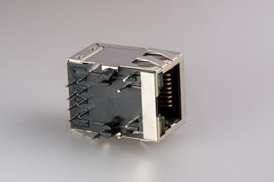 China Integrated Magnetic POE RJ45 Jack , Surface Mount RJ45 Connector With Shield / Transformers supplier