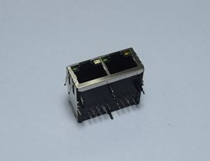 China Panel Mount  Female Rj45 Pcb Jack 1 X 2 Port , Low Profile Rj45 Connector Socket supplier