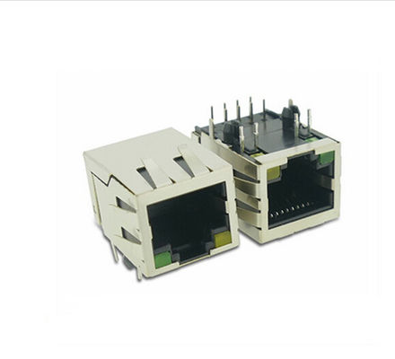 China Vertical Computer Rj45 Connector With Magnetics , Shielded Rj45 Connector / Plug / Socket supplier