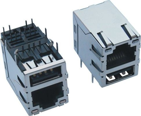 China Stacked Single Port RJ45 USB Connector With 10 / 100 / 1000 Mangetics And Transformer supplier