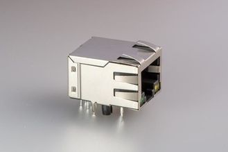China Vertical Female Jack RJ45 With Transformer , 8 Pin Shielded RJ45 Connector Single Port supplier