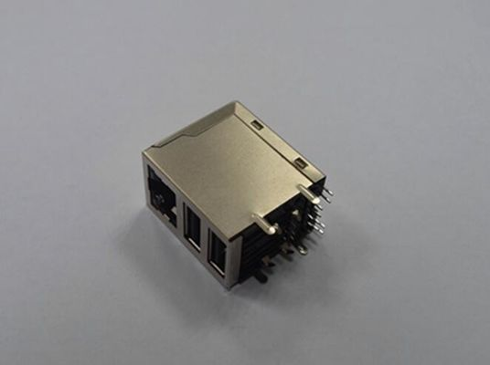 China Stacked RJ45 Lan Network Connector Female Jack , Modular RJ45 Connectors Shield 8P8C supplier