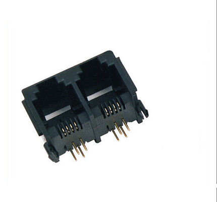 China Support 4P4C 6P6C 8PC 10P8C Stacked RJ45 Modular Jack Connectors for Lan Switch distributor