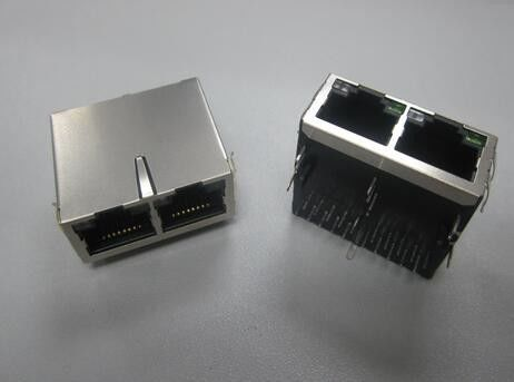 China Ethernet Right Angle 2 Port RJ45 Connector With Integrated Magnetics / Filter distributor