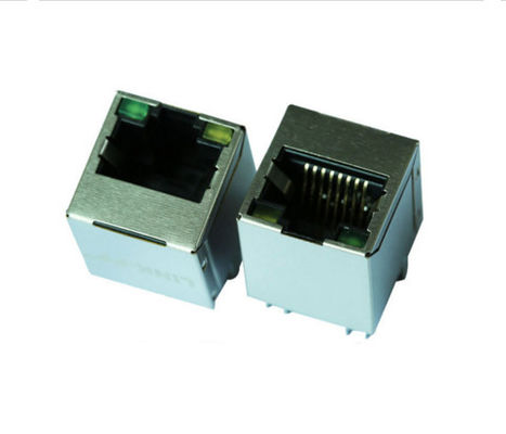 Vertical Gigabit Ethernet RJ45 Connector Female , PCB Shielded RJ45 Connector