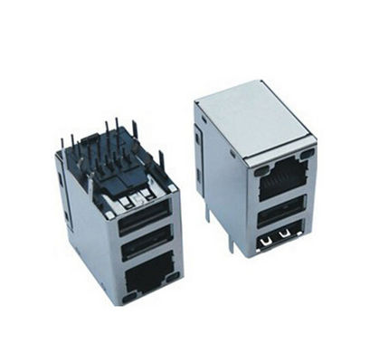 China Professional Rj45 Modular Jack With Dual Port USB Connector , Cat5 Rj45 Connector distributor