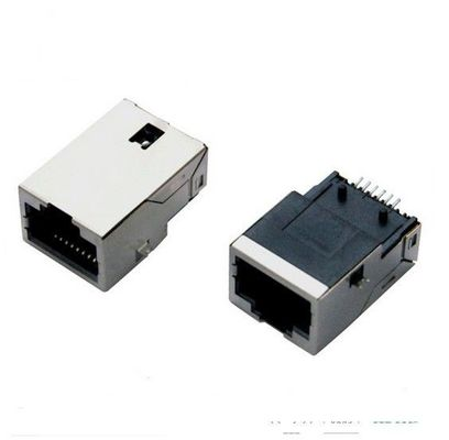 China Magnetic 8P8C PCB Rj45 Modular Jack , RJ45 Connector with Transformer Surface Mount distributor