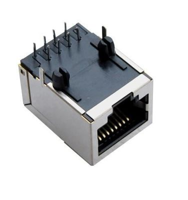 China 90 Degree Magnetic RJ45 Connector with Transformer 10P8C Side Enter With Shield factory