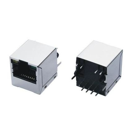 China Shield Network Rj45 Connectors Plug With Magnetics 180 Degree For 10/100M Net Card factory