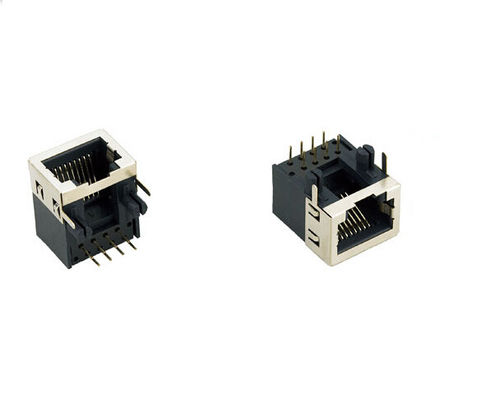 China Custom 8 Pin R45 Female Connector , PCB RJ45 Ethernet Jack With Shield distributor