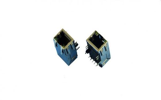 China Tap Down POE RJ45 Shielded Connector , 10P10C PCB Surface Mount Rj45 Jack 90 Degree factory