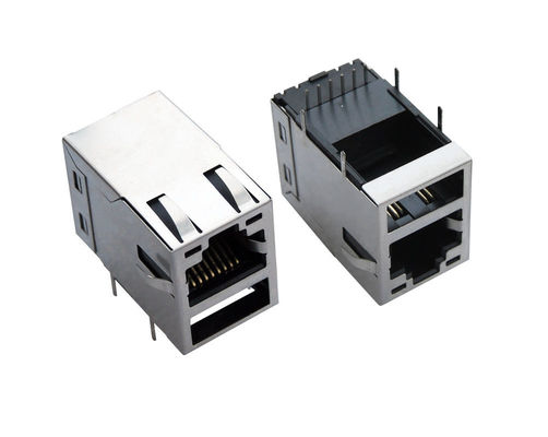 China 90 Degree Female RJ45 USB Connector , RJ45 PCB Jack With Led / Emi Tab - Up Shielded distributor