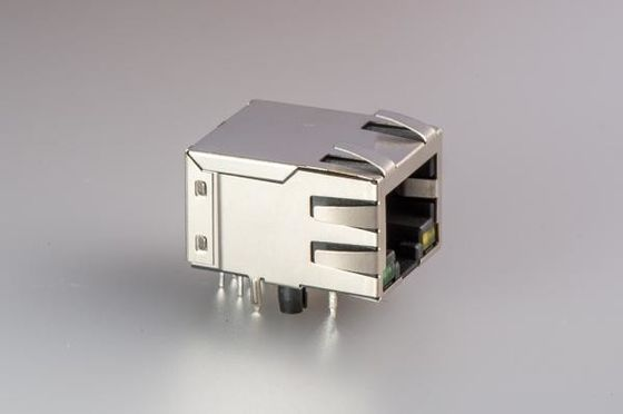 China Vertical Female Jack RJ45 With Transformer , 8 Pin Shielded RJ45 Connector Single Port factory